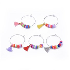 Wine Glass Charms, with Brass Findings, Polymer Clay Heishi Beads and Polycotton(Polyester Cotton) Tassel Charms