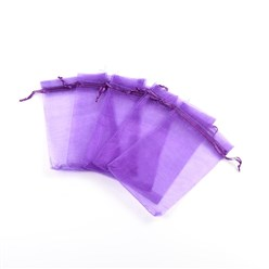 Blue Violet Organza Gift Bags with Drawstring, Jewelry Pouches, Wedding Party Christmas Favor Gift Bags, Blue Violet, 10x8cm