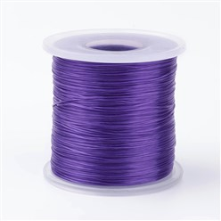 Purple Japanese Flat Elastic Crystal String, Elastic Beading Thread, for Stretch Bracelet Making, Purple, 0.5mm; about 300m/roll