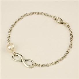 Fashion Tibetan Style Infinity Link Bracelets, Iron Chains with Grade A Pearl Beads and Alloy Lobster Claw Clasps, 200mm