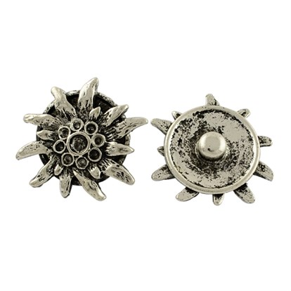 Brass Snap Buttons, with Flower Alloy Rhinestone Settings, Tibetan Style, Lead Free, 26x23x7mm; Fit for 1~3mm rhinestone-1