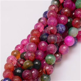 Natural Agate Bead Strands, Dyed, Faceted, Round