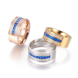 304 Stainless Steel Finger Rings, with Cubic Zirconia, Wide Band Rings