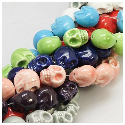 Handmade Porcelain Beads Strands, Bright Glazed Style, Skull, Halloween, 13x11x13mm, Hole: 1mm