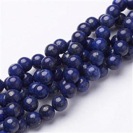 "16"" Grade A Round Dyed Natural Lapis Lazuli Beads Strand"