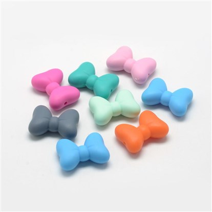 Food Grade Environmental Silicone Beads, Chewing Beads For Teethers, DIY Nursing Necklaces Making, Bowknot