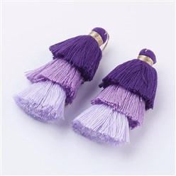 Purple Nylon Tassels Big Pendant Decorations, Three Layers, Purple, 70x40mm