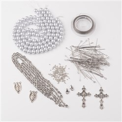 Silver DIY Jewelry Material Packages, Including Tibetan Style Alloy Pendants, Glass Pearl Beads, Stainless Steel Findings, Chain and Tiger Tail, Silver, 8x1mm