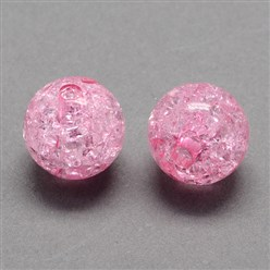 Pink Transparent Crackle Acrylic Beads, Round, Pink, 8mm, Hole: 2mm; about 1890pcs/500g