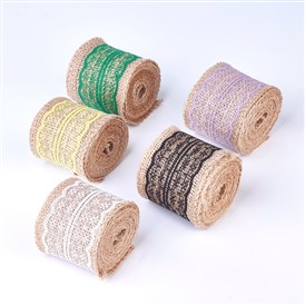 Hemp Ribbon Cord with Lace, for Jewelry Making