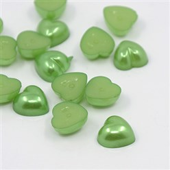 LimeGreen Acrylic Imitation Pearl Cabochons, Dyed, Heart, LimeGreen, 10.5x10.5x5mm; about 1500pcs/bag