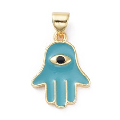 Cyan Enamel Pendants, with Brass Findings, Hamsa Hand/Hand of Fatima/Hand of Miriam with Eye, Golden, Cyan, 18.5x13.5x2mm, Hole: 3x5mm