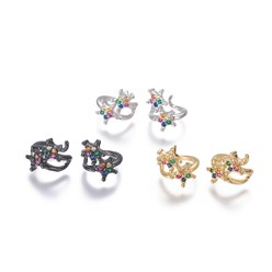 Mixed Color Brass Cubic Zirconia Cuff Earrings, Star, Mixed Color, 10x1.5~14mm