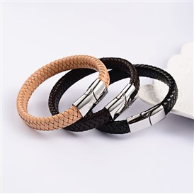 Trendy Leather Braided Cord Bracelets, with 304 Stainless Steel Magnetic Clasps, 220x12x6mm