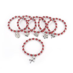 "Red 304 Stainless Steel Charm Bracelets, with Plastic Beads, Mixed Shaped, Red, 2-1/4""(5.6cm)"