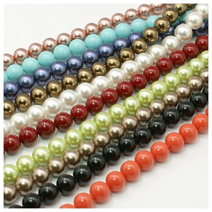 Shell Pearl Beads Strands, Grade A, Polished, Round, 10mm, Hole: 0.8~1.0mm; about 38pcs/strand-1
