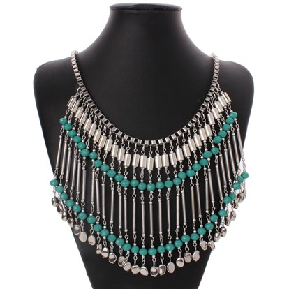 "Alloy Glass Beades Tassels Bib Necklaces, Fringe Chain Necklaces, with Lobster Claw Clasps, 24""-1"
