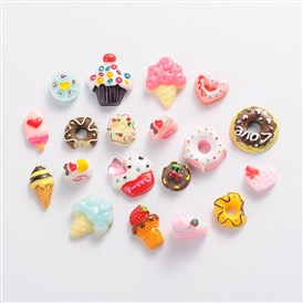 Food Resin Cabochons, Mixed Shapes, 18~22x13~18x3~5mm