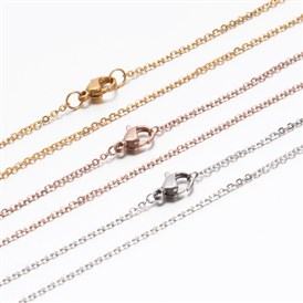 Vacuum Plating Classic Plain 304 Stainless Steel Mens Womens Cable Chain Necklaces, with Lobster Claw Clasp