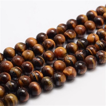 Natural Tiger Eye Bead Strands, Round, Grade AB+-1