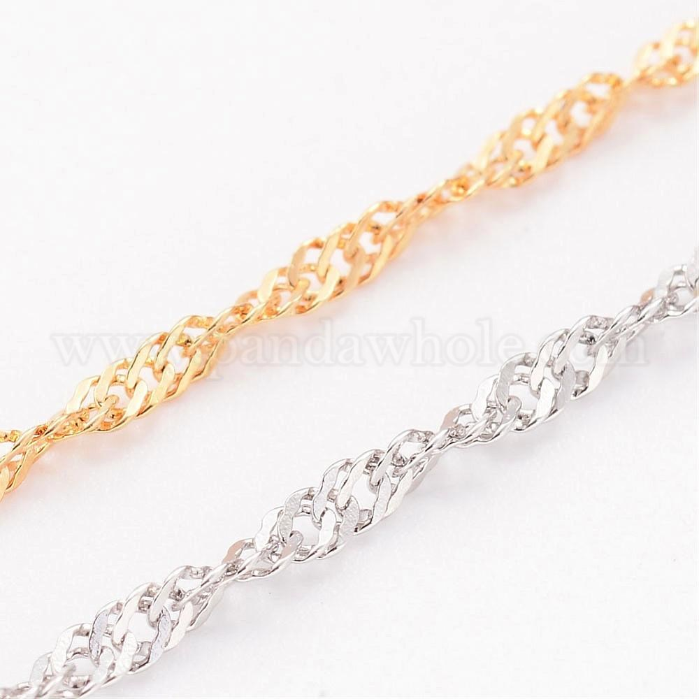 304 Stainless Steel Singapore Chains, Soldered, with Spool, Faceted