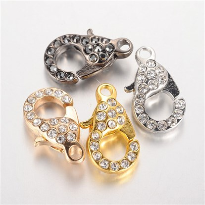 Alloy Glass Rhinestone Lobster Claw Clasps, 21x12.5x7mm, Hole: 2.5mm-1