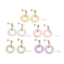 Ring Shape Transparent Acrylic Dangle Stud Earrings, with Aluminium Linking Rings, Brass Cubic Zirconia Stud Earring Findings, Brass & Plastic Ear Nuts