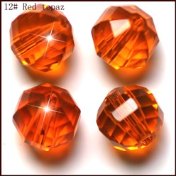 DarkOrange Imitation Austrian Crystal Beads, Grade AAA, Faceted, Round, DarkOrange, 10mm, Hole: 0.9~1mm
