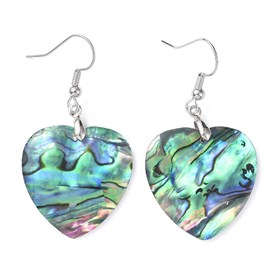 Abalone Shell/Paua ShellDangle Earrings, with Brass Ice Pick Pinch Bails and Earring Hooks, Heart