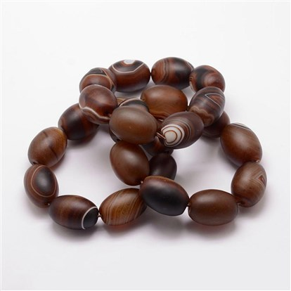 Natural Agate Beaded Stretch Bracelets, Oval, Dyed & Heated-1