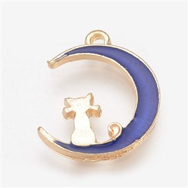 Alloy Enamel Pendants, Moon with Cat