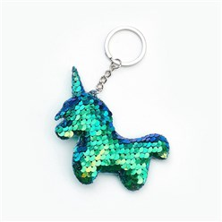 SeaGreen Key Chains, with Plastic Paillette Beads, Iron Key Ring and Chain, Unicorn, Platinum, SeaGreen, 135mm; Pendant: 95x79x11mm