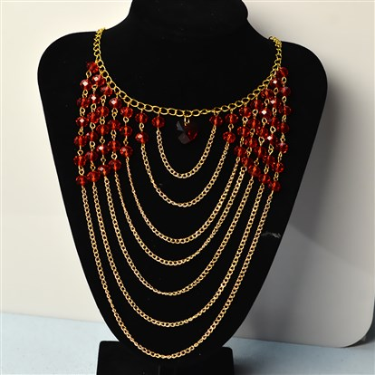 DIY Necklace Kits, Multi Strands Red Glass Beads Chain Statement Necklace-1
