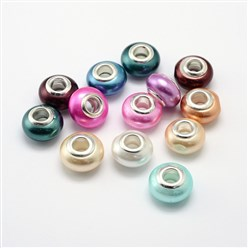 Mixed Color Shell Pearl Large Hole Rondelle European Beads, with Double Silver Color Brass Cores, Mixed Color, 14x9mm, Hole: 4.5mm