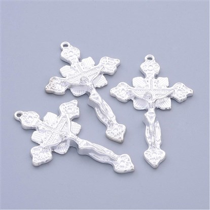 Tibetan Style Pendants, Lead Free and Cadmium Free, Crucifix Cross, Size: about 48mm long, 31mm wide, 5mm thick, Hole: 1.5mm-1