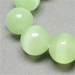 Pale Green Cat Eye Beads Strands, Round, Pale Green, 12mm, Hole: 1.5mm; about 33pcs/strand, 14.5 inches
