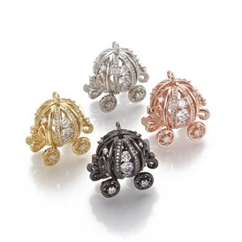 Brass Cage Pendants, For Chime Ball Pendant Necklaces Making, with Micro Pave Cubic Zirconia, Hollow Pumpkin Carriage, Clear