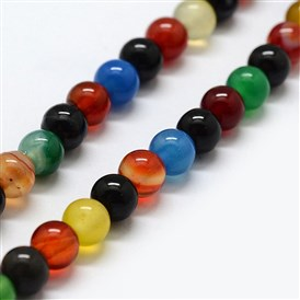 Natural Agate Beads Strands, Dyed & Heated, Round