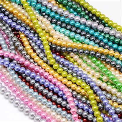 Environmental Dyed Glass Pearl Round Beads Strands, Cotton Cord Threaded-1