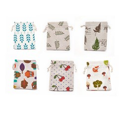 Mixed Color Polycotton(Polyester Cotton) Packing Pouches Drawstring Bags, Mixed Color, 18x13cm
