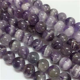Gemstone Beads Strands, Natural Grade B Amethyst, Round