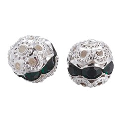Emerald Brass Rhinestone Beads, Grade A, Silver Metal Color, Round, Emerald, 8mm, Hole: 1mm; 20pcs/box