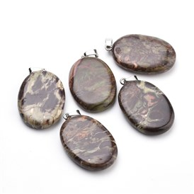 Natural Crazy Agate Pendants, with Iron Finging, Oval