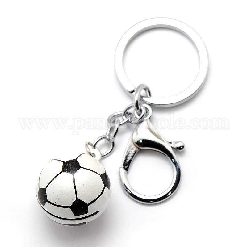 Lovely Platinum Plated Iron Key Chains, Brass Football Bell Charms  Keychains, with Lobster Claw Clasps, 110mm