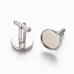 Stainless Steel Color 304 Stainless Steel Cufflinks Settings, Flat Round, Stainless Steel Color, Tray: 16.5mm; 26.5x17.5mm