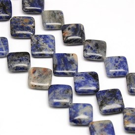 Natural Rhombus Sodalite Beads Strands, 16x16x6mm, Hole: 1mm; about 22pcs/strand, 15.74""