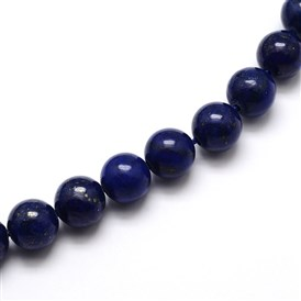 Dyed Natural Lapis Lazuli Round Beads Strands, Grade A