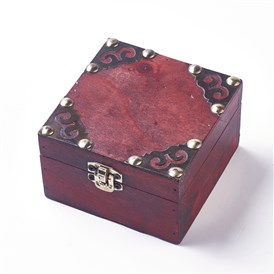 Wood Jewelry Box, with Front Clasp, for Arts Hobbies and Home Storage, Rectangle