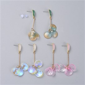 Glass Petal Dangle Ear Studs, with Plastic Ear Nuts, Iron Bar Links, Alloy Stud Findings