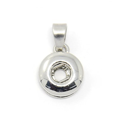 Alloy Jewelry Pendant Making for Snap Buttons, Cadmium Free & Nickel Free & Lead Free, Flat Round, 15x12x5mm, Hole: 6.5x4mm; Knob: 4.5mm-1
